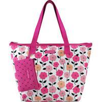 Bolsa Shopper Floral Com Niqueleira- Branca & Rosa Escurjacki Design