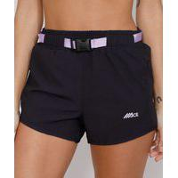 Short Feminino Esportivo Ace Running Com Bolso E Cinto Preto