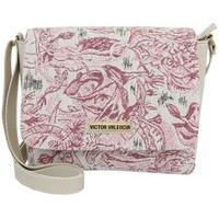 Bolsa Transversal Marfim Com Tecido Rosa Victor Valencia