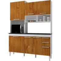 Cozinha Compacta Lotus 7 Pt E 2 Gv Branco E Caramelo