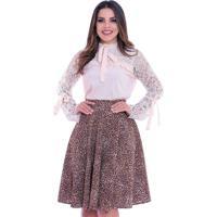 Blusa Miss Lady Crepe Marfim Com Rendas