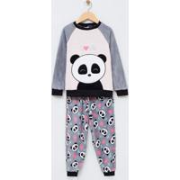 Pijama Infantil Fleece Com Bordado - Tam 6 A 14