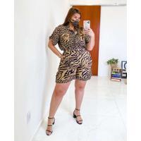 Camisa Almaria Plus Size Miss Taylor Animal Print