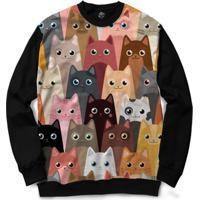 Blusa Bsc Cat Love Full Print - Masculino-Preto