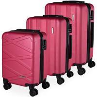 Conjunto De 3 Malas De Viagem Com Zíper Expansível Tóquio Abs Portinari Giro 360º - Unissex-Pink