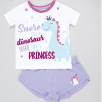 Pijama Infantil Dinossauro Manga Curta Branco