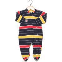 Macacão Upi Uli Longo Baby Listrado Amarelo/Azul