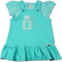 Vestido Infantil Malha Delicato E Listrada Perfume - Feminino-Azul Turquesa