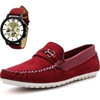 Kit Mocassim La Faire 282 Vermelho Com Relógio