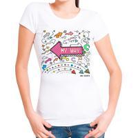 Blusa T-Shirt Outletdri Estampa On My Way Branca