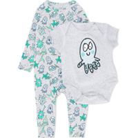Stella Mccartney Kids Conjunto De Bebê Happy Fish Estampado - Cinza