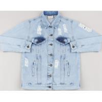 Jaqueta Jeans Juvenil Destroyed Azul Claro