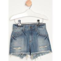 Short Jeans Desfiado Com Zíper- Azulcolcci