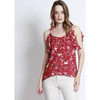 Blusa Floral Com Babado & Vazado- Vermelha & Verde- Linho Fino