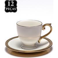 Conjunto De Xícaras De Café Wolff Porcelana Paddy 12Pçs Branco/Dourado
