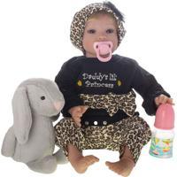 Boneca Laura Baby Anita - Castanho Escuro & Azul- 50Shiny Toys