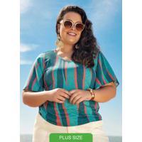 Blusa Estampada Com Decote V Verde