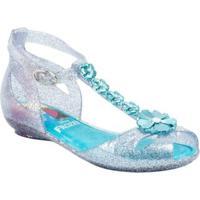Sandália Disney Grendene Princesa Sonhos Com Brinde Vidro - Feminino-Branco+Azul