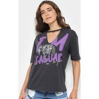 Camiseta Sommer Estampada Jaguar Feminina - Feminino-Cinza