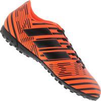 Chuteira Society Adidas Nemeziz 17.4 Tf - Adulto - Laranja Esc Preto 84ab93896874d