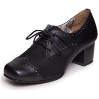 Sapato Preto Oxford Feminino - Preto / Sued Preto 7322