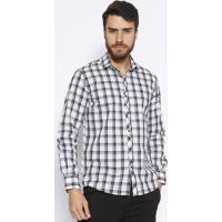 Camisa Slim Fit Xadrez- Branca & Preta- Docthosdocthos