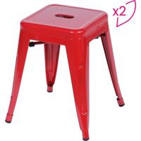 Jogo De Banquetas Retrã´ Baixa- Vermelho- 2Pã§S- Oor Design
