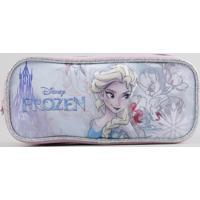 """Estojo Escolar Infantil Frozen """"Elsa"""" Com 2 Divisórias 3D Rosa - Único"""