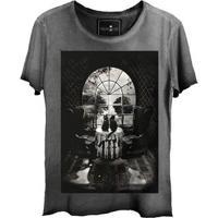 Camiseta Estonada Gola Canoa Corte A Fio Skull House
