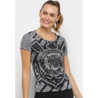 Camiseta Corinthians Fio Tinto Shadow Feminina - Feminino-Chumbo