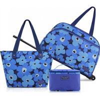 Conjunto De Mala E Bolsa De 3 Peças Jacki Design Papoula Azul