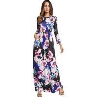 Vestido Longo Estampado Floral Com Bolsos Manga Longa - Preto