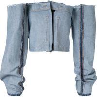 Litkovskaya Blusa Jeans Ombro A Ombro - Preto