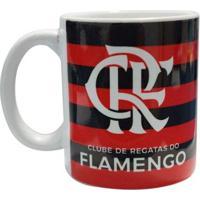 Caneca Flamengo Cerâmica 300 Ml Bicampeão - Masculino-Vermelho+Preto