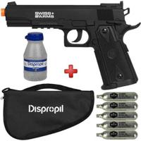Kit Pistola Pressão Co2 Swiss Arms P1911 Match + Capa + 5 Capsulas Co2 + Esferas Aço 2100Un. - Unissex-Preto