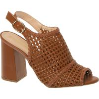 Sandal Boot Em Trama Caramelo E Salto Bloco Alto