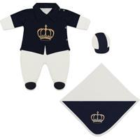 Saída De Maternidade Padroeira Baby Príncipe Glamour Azul Marinho