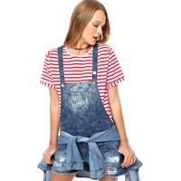 a6dadf76a Jardineira Jeans Colcci Puídos Azul