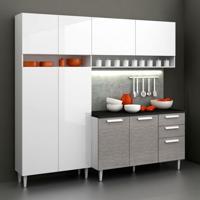 Cozinha Compacta Class Glamy 3 Peças Branco E Carvalho Prata Madesa
