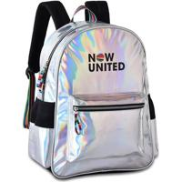 "Mochila Laptop Now United Luxo Holográfica Prata 17"""