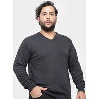 Blusa Tricô Delkor Plus Size Masculina - Masculino-Chumbo