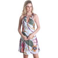 Vestido Praaiah Decote Gota Folhas De Outono - Feminino - Feminino