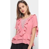 Blusa Only Fashion Bata Babados Feminina - Feminino-Rosa