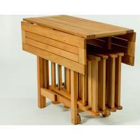 Conjunto Mesa Dobrável Gourmet De Madeira Com 4 Cadeiras Dobráveis Cor Jatobá - 100X94,5X75 Cm