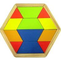 Mosaico Kits E Gifts Quebra Cabeça Colorido - Sextavado - Madeira Amarelo