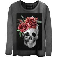 Camiseta Estonada Manga Longa Skull Smiling
