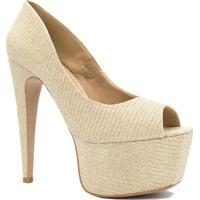 Sapato Zariff Shoes Peep Toe Salto Alto Dourado