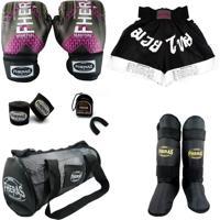 Kit Fheras Boxe Top - Luva + Bandagem Bucal Caneleira Bolsa Shorts -14 Oz Iron Rosa- Fheras