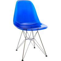 Cadeira Dkr Policarbonato E Base De Metal Huron – Azul