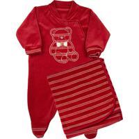 Saída De Maternidade Ano Zero Plush Listrado Enfant Ursinho Vermelho